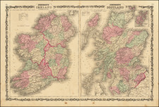 Scotland and Ireland Map By Alvin Jewett Johnson  &  Benjamin P Ward