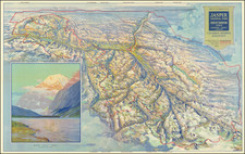 Pictorial Map of Jasper National Park Mount Robson Park   By Canadian National Railway