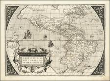 Western Hemisphere and America Map By Abraham Ortelius
