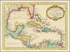Carte Du Golphe Du Mexique et des Isles De L'Amerique . . . 1754 By Jacques Nicolas Bellin