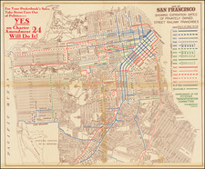 Map of San Francisco Showing Expiration Dates of Privately Owned Street Railway Franchises By Citizens Transportation Committee