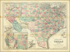 Texas Map By G.W.  & C.B. Colton / Albert Hanford