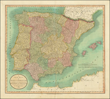 Spain and Portugal Map By John Cary
