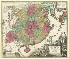 China, Japan and Korea Map By Matthaus Seutter