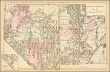 Utah, Nevada and Utah Map By Samuel Augustus Mitchell Jr. / William Bradley