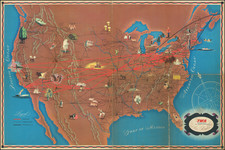 World, United States and Pictorial Maps Map By Trans World Airlines