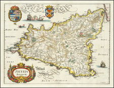 Sicily Map By Matthaeus Merian