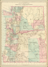 County And Township Map Of Oregon And Washington By Samuel Augustus Mitchell Jr.