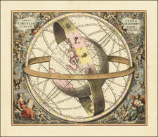 Pacific, Australia, California and Celestial Maps Map By Andreas Cellarius / Valk & Schenk