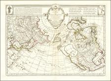 Polar Maps, Alaska, North America, Pacific, Russia in Asia and Canada Map By Philippe Buache / Joseph Nicholas De  L'Isle