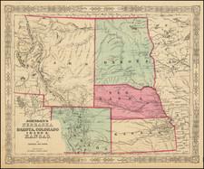 Kansas, Nebraska, North Dakota, Colorado, Rocky Mountains, Colorado, Idaho, Montana and Wyoming Map By Benjamin P Ward  &  Alvin Jewett Johnson