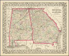 Alabama and Georgia Map By Samuel Augustus Mitchell Jr.