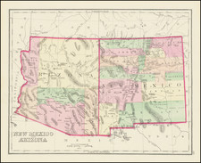 Arizona and New Mexico Map By O.W. Gray