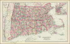 New England, Connecticut, Massachusetts, Rhode Island and Boston Map By O.W. Gray