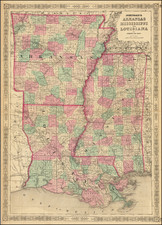 Louisiana, Mississippi and Arkansas Map By Alvin Jewett Johnson