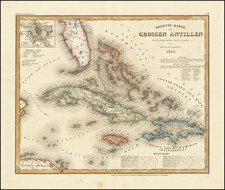 Caribbean, Cuba and Bahamas Map By Joseph Meyer