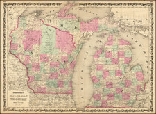 Michigan and Wisconsin Map By Alvin Jewett Johnson