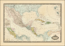 Southeast, Arizona, New Mexico, Mexico, Caribbean and Central America Map By F.A. Garnier
