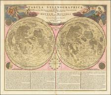 Tabula Selenographica in qua Lunarium Macularum exacta Descriptio secundum Nomenclaturam . . .  Hevelii quam Riccioli By Johann Baptist Homann