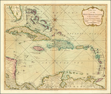 Florida and Caribbean Map By Richard Holmes Laurie  &  James Whittle
