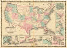 United States, Arizona and New Mexico Map By Alvin Jewett Johnson  &  Benjamin P Ward