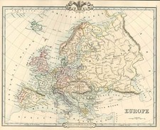 Europe and Europe Map By G.F. Cruchley