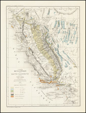 Nevada and California Map By Edmond Guillemin-Tarayre