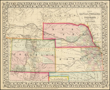 Map of Kansas, Nebraska and Colorado, Showing also the Southern portion of Dacotah By Samuel Augustus Mitchell Jr.