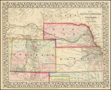 Plains, Kansas, Nebraska, South Dakota, Colorado, Rocky Mountains, Colorado and Wyoming Map By Samuel Augustus Mitchell Jr.