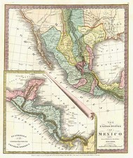 Texas, Southwest, Central America and California Map By David Hugh Burr