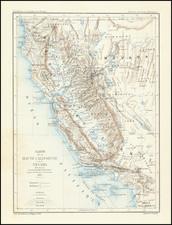 Nevada, California and Geological Map By Edmond Guillemin-Tarayre