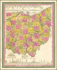 A New Map of Ohio with its Canals, Roads & Distances . . .1846 By Samuel Augustus Mitchell