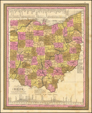 Ohio Map By Samuel Augustus Mitchell