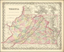West Virginia and Virginia Map By Joseph Hutchins Colton