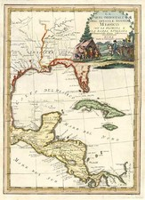 South, Southeast, Texas and Central America Map By Giovanni Maria Cassini