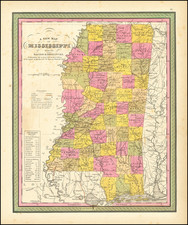 A New Map Of Mississippi with its Roads & Distances … 1846 By Samuel Augustus Mitchell