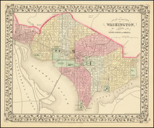 Plan of the City of Washington.  The Capitol of the United States of America. By Samuel Augustus Mitchell Jr.