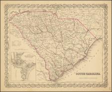 South Carolina Map By Joseph Hutchins Colton