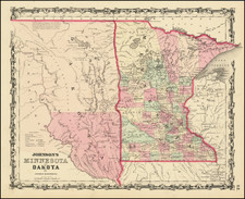 Minnesota, North Dakota and South Dakota Map By Alvin Jewett Johnson  &  Ross C. Browning