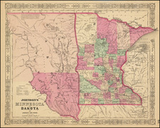 Minnesota, North Dakota and South Dakota Map By Alvin Jewett Johnson  &  Benjamin P Ward