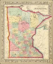 Minnesota Map By Samuel Augustus Mitchell Jr.