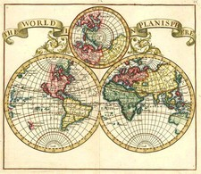 World, World and Polar Maps Map By Herman Moll