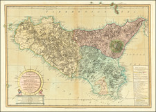 Sicily Map By Laurie & Whittle