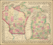 Michigan and Wisconsin Map By Samuel Augustus Mitchell