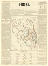 Southwest, Arizona, New Mexico and Mexico Map By Antonio Garcia y Cubas