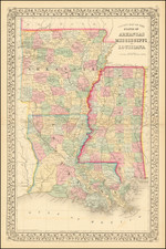County Map of the States of Arkansas, Mississippi, and Louisiana By Samuel Augustus Mitchell Jr.