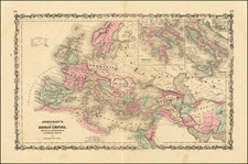 Europe, Italy and Mediterranean Map By Benjamin P Ward  &  Alvin Jewett Johnson