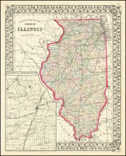 Illinois Map By Samuel Augustus Mitchell Jr.