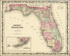 Florida Map By Alvin Jewett Johnson  &  Ross C. Browning