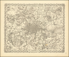 London Map By Joseph Hutchins Colton